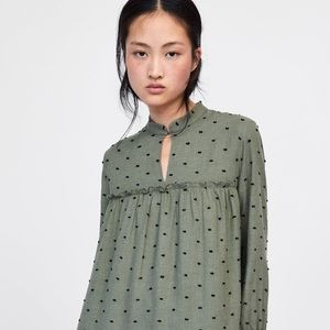 Zara Contrasting Swiss Dot dress NWT